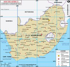 Latitude and longitude of South Africa is degrees S and degrees E. Map showing the geographic coordinates of South Africa states, major cities and towns. Lat Long Map, South Africa States, Latitude And Longitude Map, Geographic Coordinates, Country Maps, Geography, Peta, Cape Town, Christians