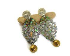 Opal Resin earrings clip on dangle earrings by UneDemiLune on Etsy