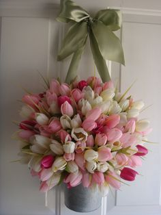 Spring wreath, Easter wreath, Mothers Day wreath, front door wreath, door wreath, tulip wreath, wreath. $69.00, via Etsy.