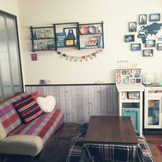 Ossyさんの、リビング,DIY,一人暮らし,こたつ,賃貸,ディッシュスタンド棚,のお部屋写真