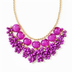 Cluster Drop Necklace - purple bib necklace with hanging bead clusters by Shamelessly Sparkly