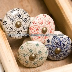 Hand painted Ceramic knobs of all shapes , sizes and designs, Any quantity and packing available