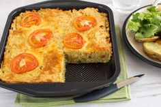 Cheesy lentil slice - an easy vegetarian dinner that doubles as a lunchbox filler for the next day! Full of protein and fibre, and still totally delicious.