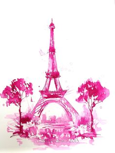Pink Eiffel Tower Watercolor Paris  Original Illustration
