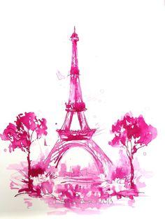 Pink Eiffel Tower Watercolor Paris  Original Illustration