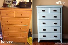 Carissa Miss: Mission Style Dresser transformation. The piece is laminate so great explanation of how to paint.