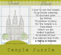 Temple puzzle with a cute verse on the back. 10 Free General Conference Printables for Toddlers