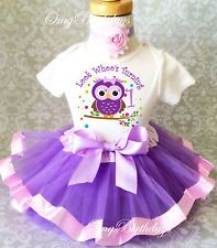 Purple Owl Look WHOOS Whos 1 Baby Girl 1st First Birthday Tutu Outfit Shirt Set