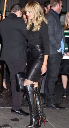 Vamping it up! Heidi Klum looked super sexy in black leather as she made her way inside Chateau Marmont on Thursday night