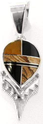 David Rosales Native Earth Inlaid Sterling Silver Pendant
