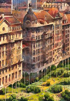 Architectural Watercolors of a Dreamlike Warsaw by Tytus Brzozowski..