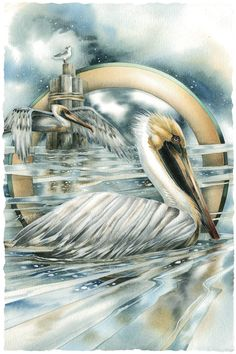 <3 <3 By, Jody Bergsma ~ WATERCOLOR ~ This is a simply beautiful Pelican seascape..artistically creative. <3 <3