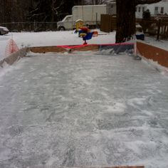 Really easy and inexpensive at home ice skating rink! I built this rink this winter in my yard. Materials: 3mil clear or white painters tarp (make sure it's large enough to cover the area and the side boards); boards to make the side frame; plywood to build up sides if desired; flat zinc coated board jointers; zinc coated corner joiners; screws; screw gun; water; cold weather!