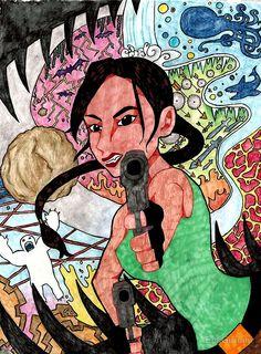 Eat Lead by Emi Gurumi. A fanart piece I did of Lara Croft, Tomb Raider. ~Emi