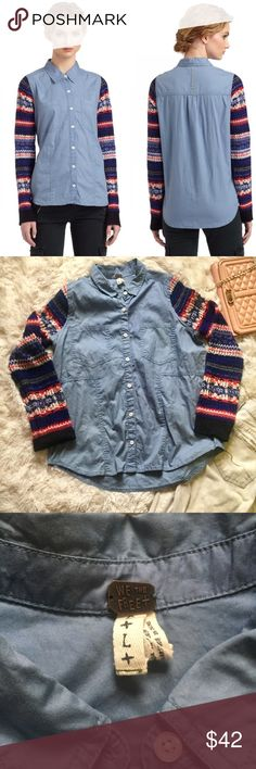 """Free People Chambray button down sweater sleeves L Free People Chambray button down with sweater sleeves. Two pockets, mixed media type top with the Aztec type detail on the sweater sleeves against the chambray. Size large. Excellent pre owned condition. Measurements: 22"""" Bust (pit to pit), 26"""" front length 29"""" back length, sleeves 30.5"""". Reasonable offers always accepted. Free People Tops Button Down Shirts"""