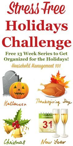 Join the Stress Free Holidays Challenge to get organized for the holidays, including Halloween, Thanksgiving, Christmas and New Year's, in this free 13 week series on Household Management 101 Christmas And New Year, Holiday Fun, Christmas Holidays, Christmas Stuff, Holiday Ideas, Christmas Ideas, Christmas Storage, Holiday Decorations, Holiday Crafts