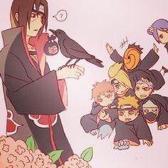 """Illustration of the fic """"Itachi's Crow Owns the Akatsuki"""" by Yuna Yami Mouto Akatsuki Clan, Naruto Akatsuki Funny, Itachi Akatsuki, Naruto Funny, Naruto Shippuden, Boruto, Sarada Uchiha, Sasuke Chibi, Naruto And Sasuke"""