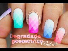 Decoración de uñas degradado geometrico - Geometric shades gradient nails - YouTube