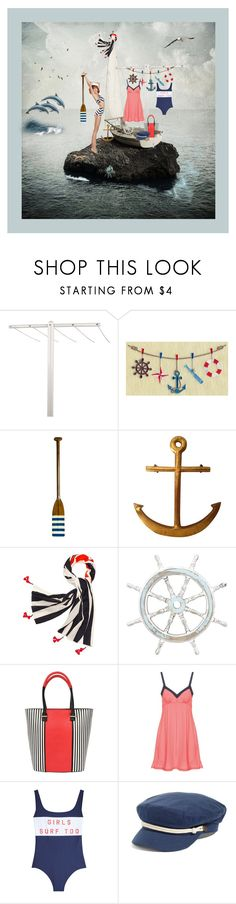 """""""ANCHORS AWAY"""" by melange-art ❤ liked on Polyvore featuring Authentic Models, Tory Burch, Benzara, Pia Rossini, Cosabella, Zoe Karssen, Brixton and Timorous Beasties"""