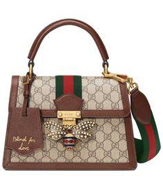 Gucci Queen Margaret Medium top handle bag Dark Coffee Popular Purses, Queen Bees, Louis Vuitton Damier, Gucci, Michael Kors, Backpacks, Medium, Leather, Bags