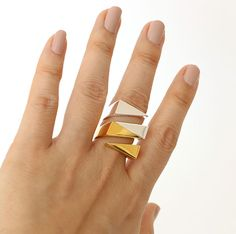 Twin Triangle ring by SIWA BAKIM