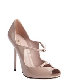 Guccipale pink patent leather strappy peep toe pumps