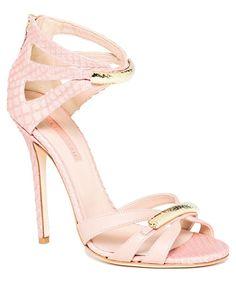Elie Saab Snakeskin & Leather Gold Embellished Ankle Strap Sandal