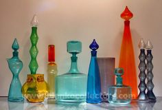 My Glass, Amber Glass, Glass Art, Blown Glass, Carafe, Blenko Glass, Genie Bottle, Colored Vases, Rainbow Glass
