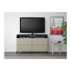BESTÅ TV unit with drawers, black-brown, Selsviken high-gloss/beige 47 1/4x15 3/4x29 1/8