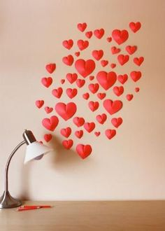 Make a wall of 3D paper hearts by love_m