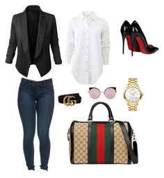 """Sin título #4"" by milly-holguin on Polyvore featuring moda, Gucci, rag & bone, Christian Louboutin, Movado, Fendi y LE3NO"