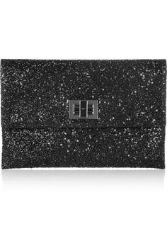 Anya Hindmarch | Valorie glitter-finish leather clutch | NET-A-PORTER.COM