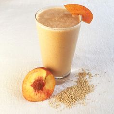 Add some tahini to your peach smoothie for an extra protein kick.