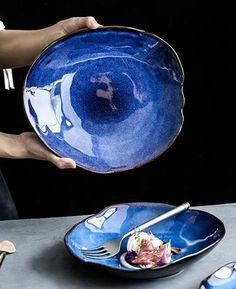 Sea Blue Color, Black Colors, Dining Plates, Blue Plates, Natural Shapes, Teller, Nordic Style, Ceramic Plates, Plate Sets