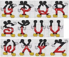 Brilliant Cross Stitch Embroidery Tips Ideas. Mesmerizing Cross Stitch Embroidery Tips Ideas. Cross Stitching, Cross Stitch Embroidery, Embroidery Patterns, Stitch Patterns, Cross Stitch Letters, Cross Stitch Baby, Letras Do Mickey, Mickey E Minie, Perler Bead Disney