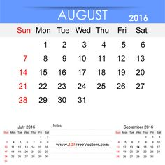 Free Download August 2016 Calendar Printable Template Vector Illustration. Can be used for business, corporate office, education, home etc.Free Editable Monthly Calendar August 2016 available in Adobe Illustrator Ai