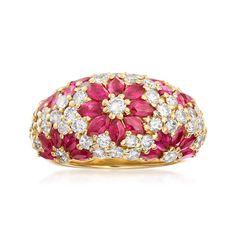 C. 1980 Vintage 3.00 ct. t.w. Diamond and 1.68 ct. t.w. Ruby Flower Ring in 18kt Yellow Gold. Size 6.75 | Ross-Simons Estate Jewelery, Ruby Jewelry, Diamond Jewelry, Gemstone Jewelry, Gold Jewelry, Fine Jewelry, Diamond Flower, Diamond Cuts, Diamond Chandelier Earrings