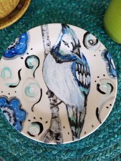 ceramic hand  painted plate  Blue Bird by RootinForYourLife