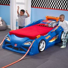 Hot Wheels Toddler to Twin Race Car Bed Twin Car Bed, Kids Car Bed, Toddler Car Bed, Race Car Bedroom, Kids Bedroom, Car Themed Bedrooms, Bedroom Sets, Master Bedroom, Bedroom Decor