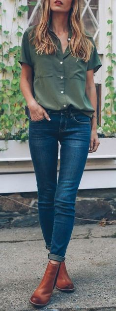 #fall #outfits women's dark-teal short-sleeved western shirt, blue denim jeans, and pair of brown Chelsea boots