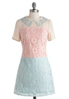 Treat Me Dress - Pastel, Short, Blue, Pink, Tan / Cream, Crochet, Casual, Sheath / Shift, Short Sleeves, Collared, Work, Daytime Party, Vintage Inspired, 60s, Colorblocking, Sheer
