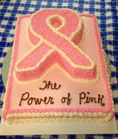Pink cancer ribbon cake
