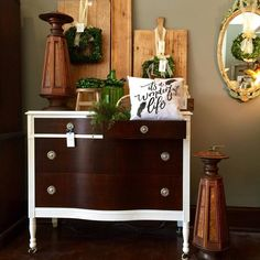 Beautiful dresser refreshed with CeCe Caldwell's Chalk + Clay Paint in Simply White and CeCe Caldwell's Stain + Finish in Kukui by  Midwest Retro in East Dundee, IL.