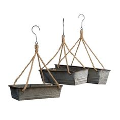 Channel the charm of the countryside with the help of this vintage-inspired set of hanging planters.Includes three hangersSmall: W x H x DMedium: W x H x DLarge: W x H x DMetalImported Hanging Planter Boxes, Cedar Planter Box, Plastic Planter Boxes, Window Planter Boxes, Hanging Table, Planter Ideas, Diy Hanging, Galvanized Decor, Galvanized Metal