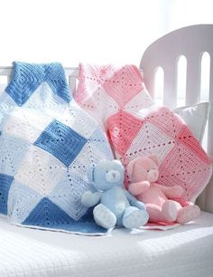 Double Diamond Baby Afghan by: All Free Crochet
