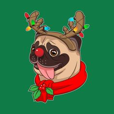 Check out this awesome 'Funny+Cute+Pug+Cool+Costumes+Christmas+Gift+Reindeer' design on Pug Christmas, Christmas Drawing, Pug Cartoon, Cartoon Pics, Cute Puns, Funny Cute, Pug Art, Dog Crafts, Dog Illustration