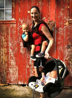 This busy mom of three (twin toddlers and a newborn) is able to get out of the house. Super mom!  Check out the www.TwinGoCarrier.com or www.Facebook.com/TwinGoCarrier for more information on product availability.