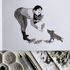 Inktober 14: Arbre. Jolie rencontre automnale au pied des chênes.  Inktober 14: Tree. Nice fall meeting at the foot of oaks.  #inktober #inktober2016 #drawingchallenge #inking #ink #drawing #illustration #artistsoninstagram #art #sketch #sketchbook #pentel #pentelbrushpen #sanglier #marcassin #wildboar #youngwildboar #chene #oak #acorn #gland