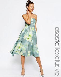 ASOS Tall ASOS TALL SALON Soft Bandeau Midi Dress in Floral Print