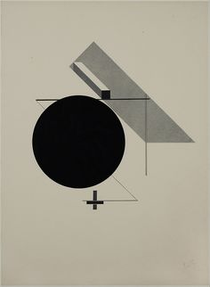 "El Lissitzky - PROUN (acrónimo para ""projetos para a afirmação de uma nova arte"") PROUNS introduz uma ilusão 3D que recua atrás do plano de imagem. ""An interchange station between painting and architecture""."